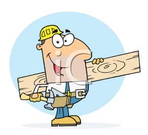 Carpenter clipart job. A colorful cartoon of