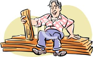 A carpenter sitting on. Carpentry clipart wood tech