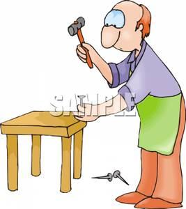 Carpentry clipart wood tech. A man building wooden