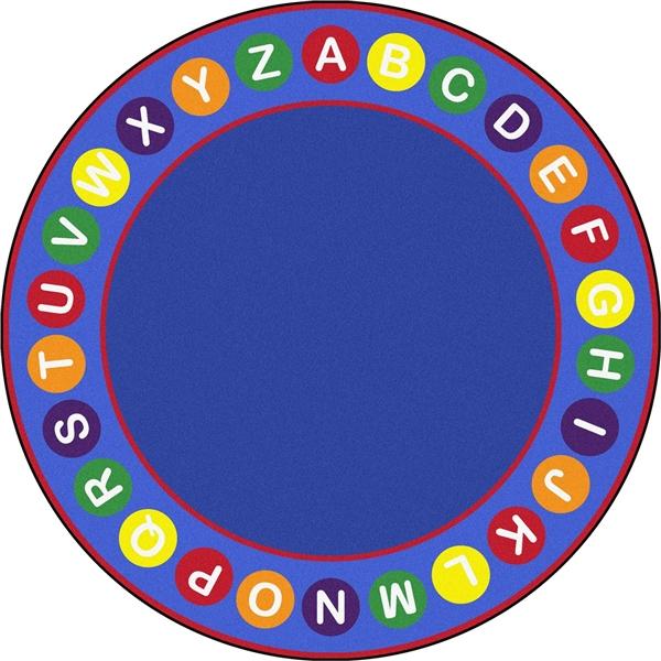 Spots round classroom rug. Carpet clipart alphabet
