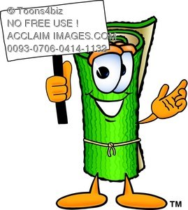 Character holding a sign. Carpet clipart cartoon