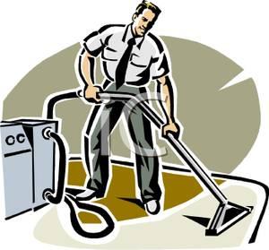 Carpet clipart cartoon. A man vacuuming the
