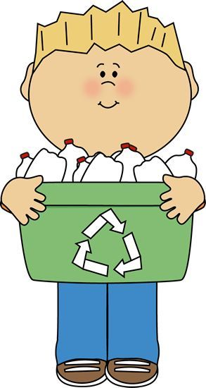 Boy with recycle bin. Biology clipart kid