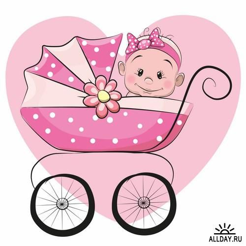 Cute cartoon baby artistic. Carriage clipart animated