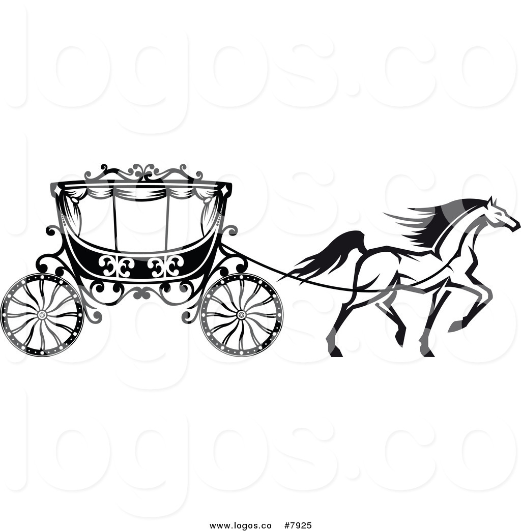 carriage clipart black and white