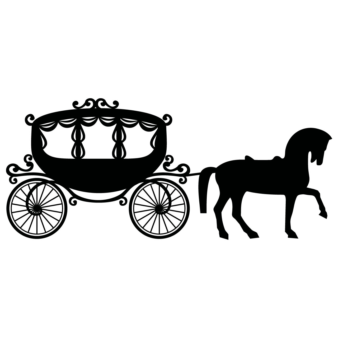 Carriage clipart black and white.  collection of cinderella
