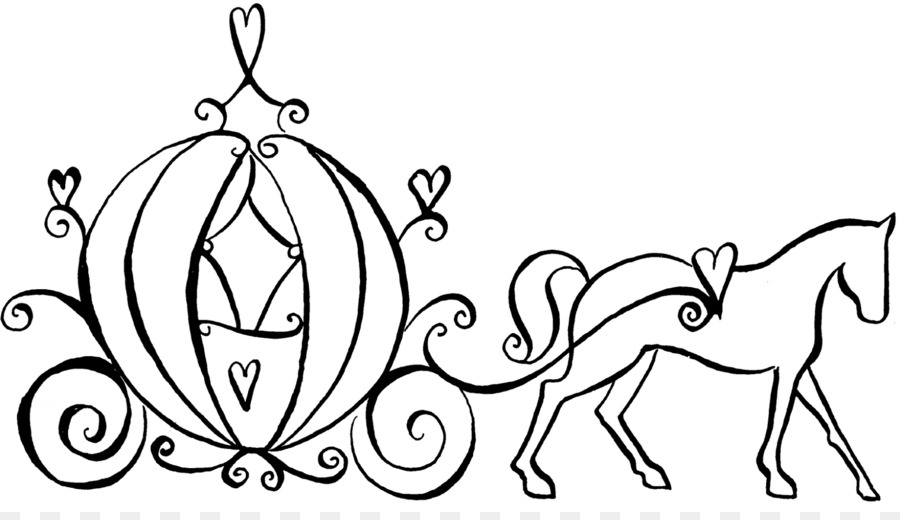 Cinderella fairy godmother coloring. Carriage clipart black and white