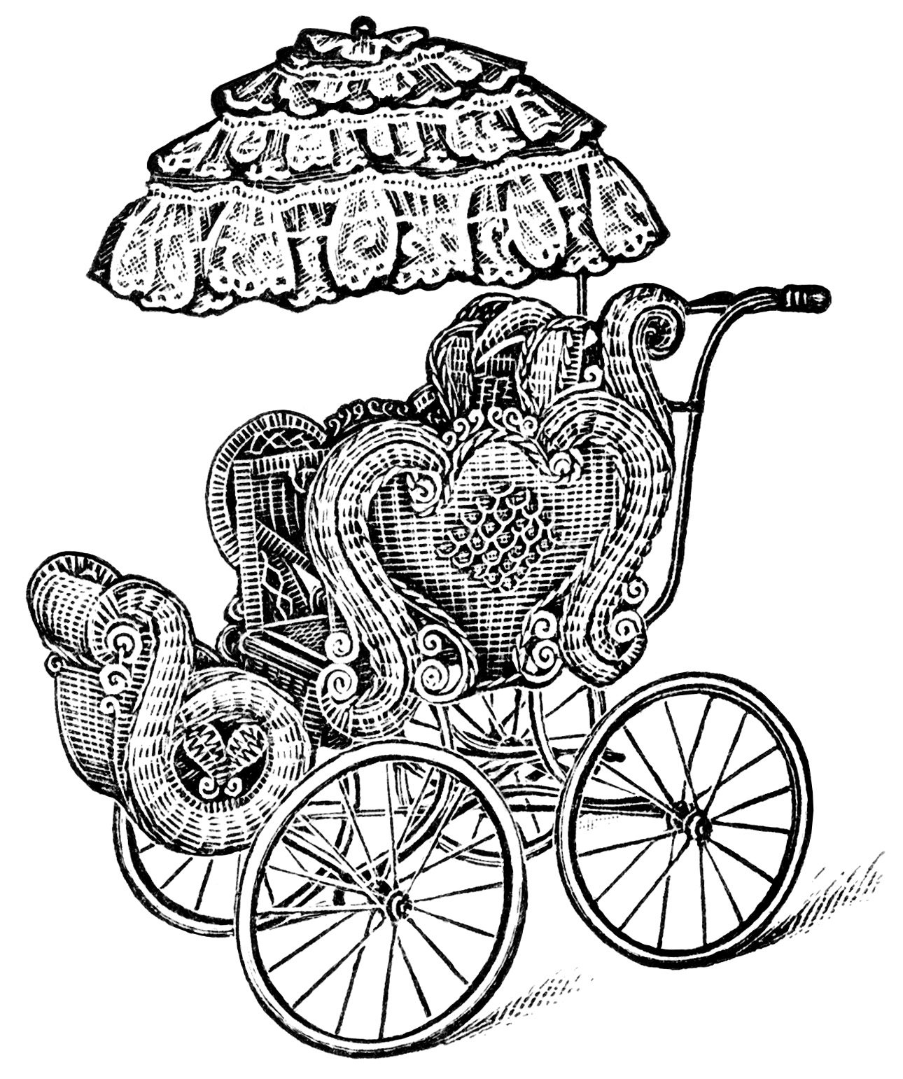 Carriage clipart black and white. Vintage baby clip art