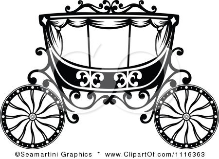 Fairy tale romantic wedding. Carriage clipart black and white