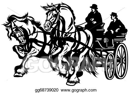Vector art horse eps. Carriage clipart chariot