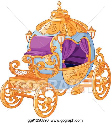 Vector art cinderella fairy. Carriage clipart cindrella