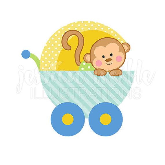 Baby boy monkey digital. Carriage clipart cute