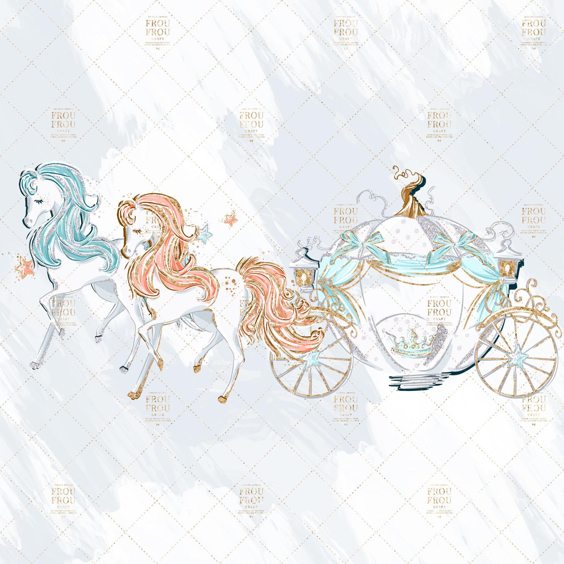 Carriage clipart cute. Fairy tale princess clip