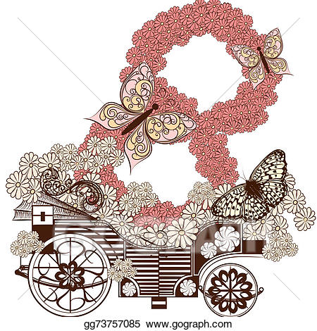 Greeting card with fake. Carriage clipart cute
