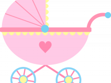Carriage clipart cute. Baby ba girl pink