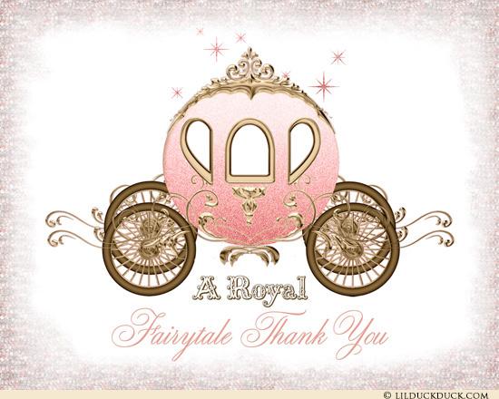 Carriage clipart fairytale. Cinderella thank you card