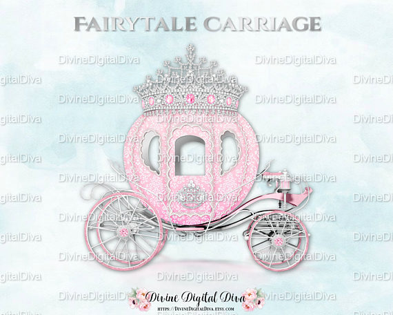 Carriage clipart fairytale. Pink silver prince princess