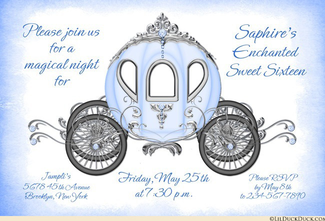 Sweet sixteen invitations enchanted. Carriage clipart fairytale