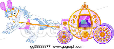 Vector art pink carriage. Fairytale clipart carrage