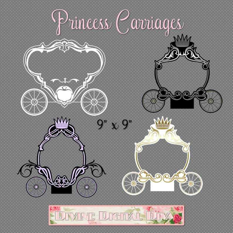 Carriage clipart frame.  princess text frames