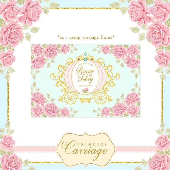 Princess vintage illustration luxury. Carriage clipart frame