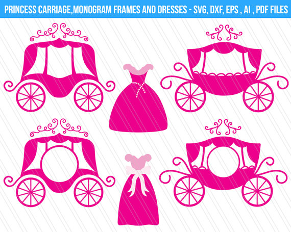 Carriage clipart frame. Princess svg cutting files