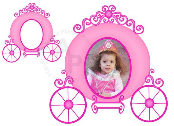 Pink princess picture digital. Carriage clipart frame