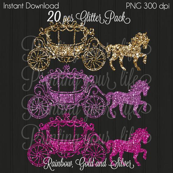 Princess gold pink cinderella. Carriage clipart glitter