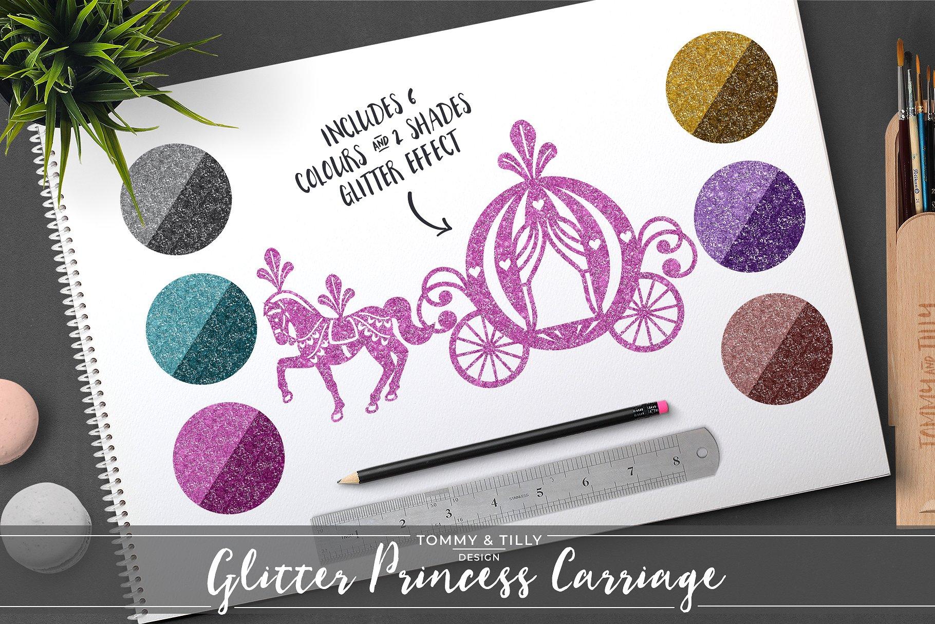 Princess illustrations creative market. Carriage clipart glitter