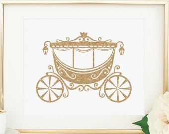 Princess printable gold nursery. Carriage clipart glitter