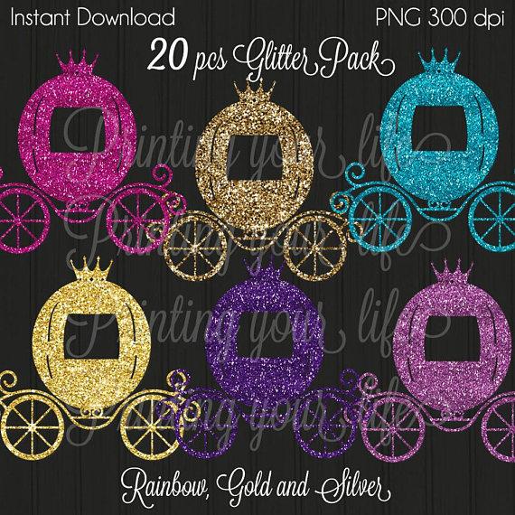 Carriage clipart glitter. Princess gold pink cinderella