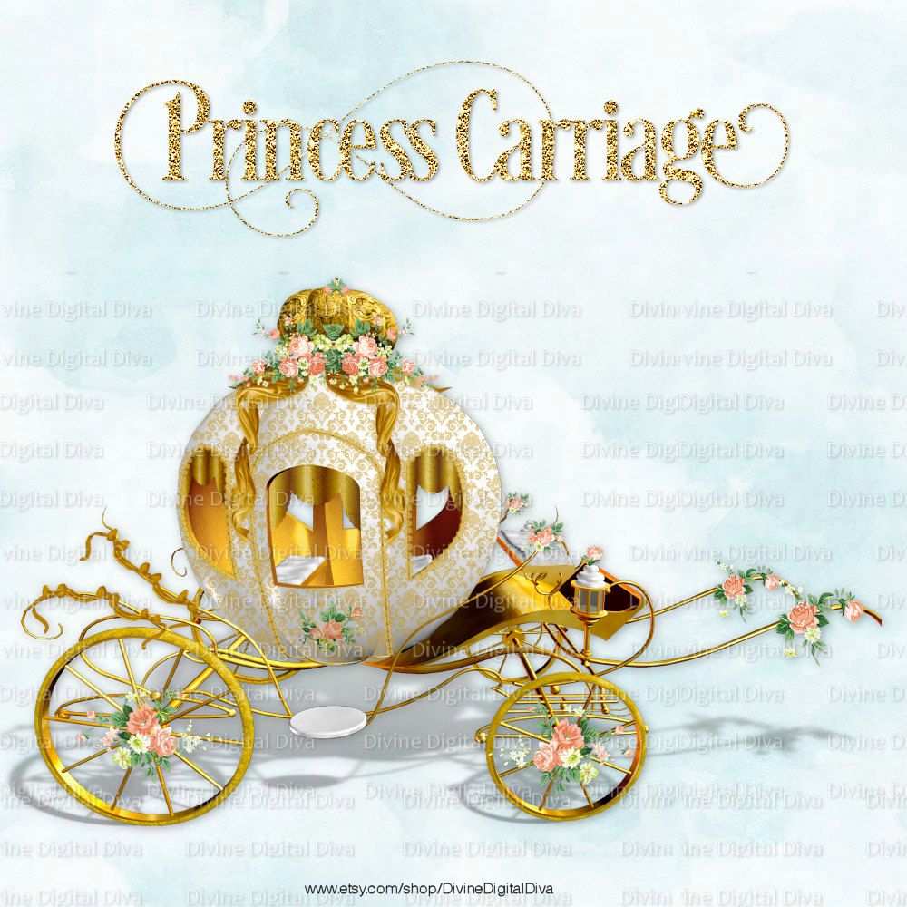 White princess trimmed with. Carriage clipart gold carriage
