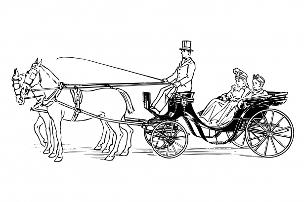 Carriage clipart horse carriage. Drawn free stock photo