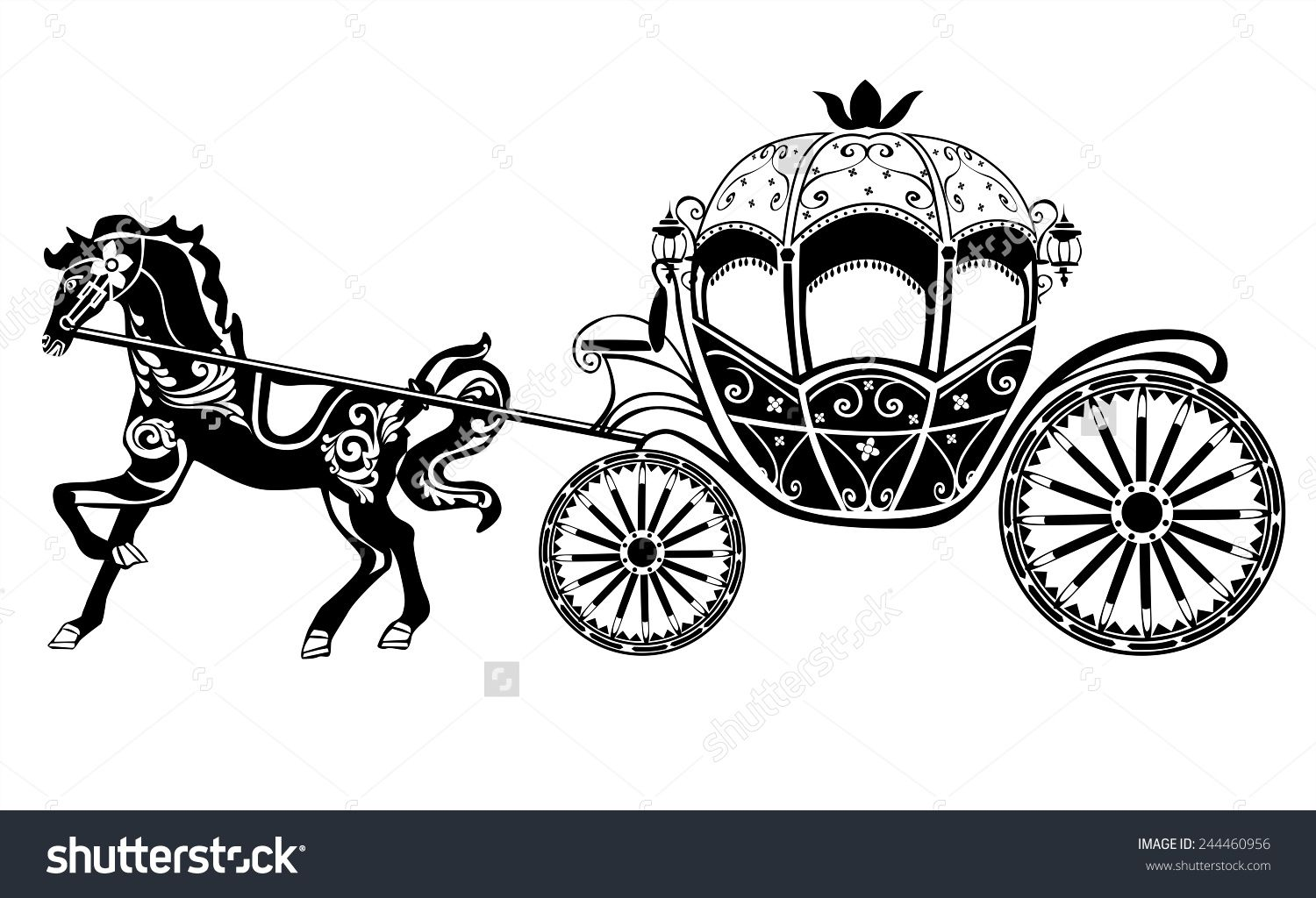 Carriage clipart horse carriage. Silhouette with preview save