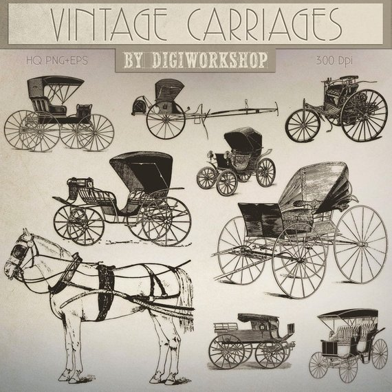 Carriage clipart horse cart. Clip art vintage carriages