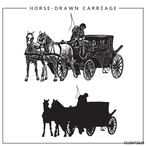 Carriage clipart horse cart. Vector illustration of drawn