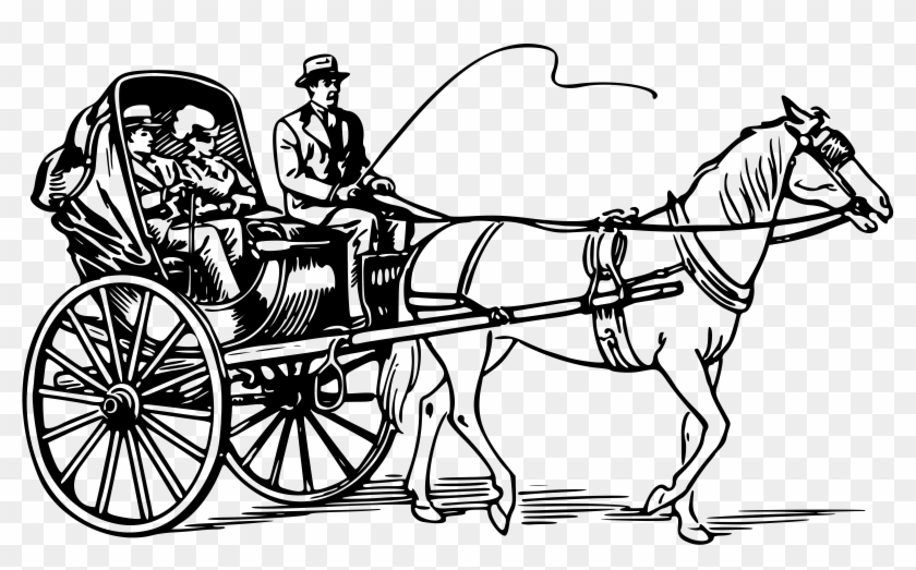 Drawn old fashioned . Carriage clipart horse cart