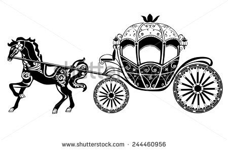 Silhouette with stock vector. Carriage clipart horse drawn