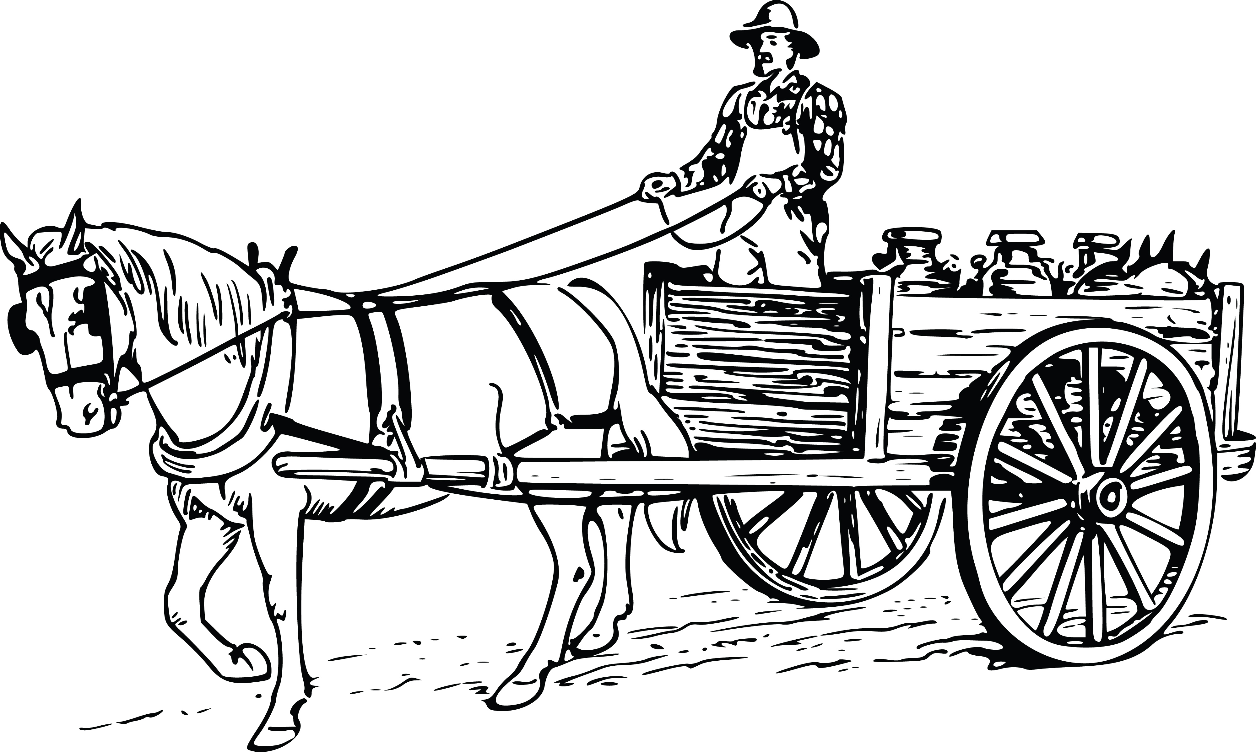 Carriage clipart horse wagon. Cart drawing at getdrawings