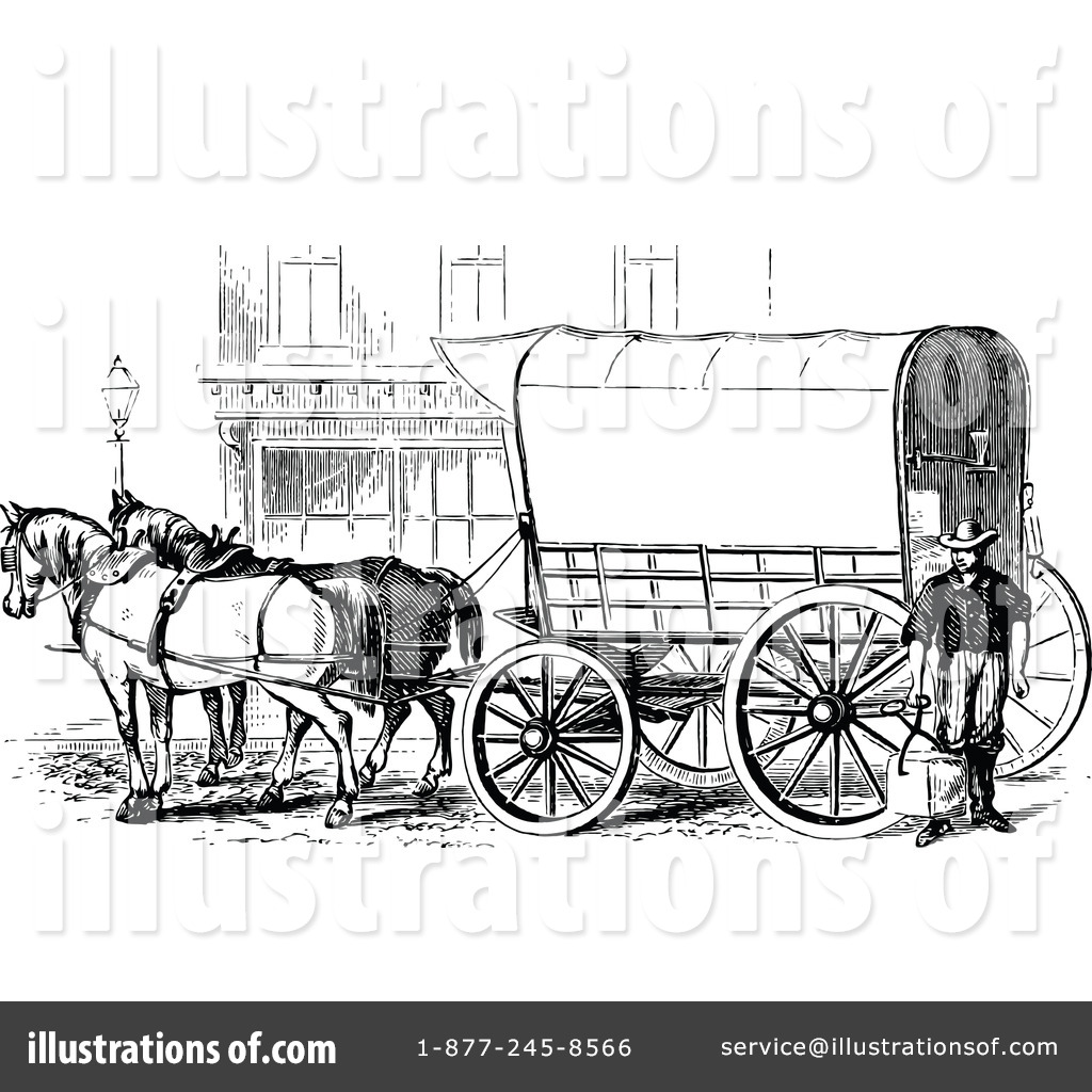 Illustration by prawny vintage. Carriage clipart horse wagon