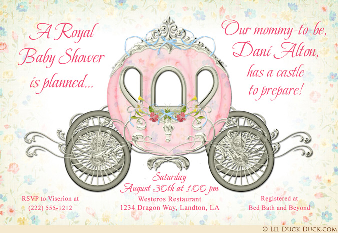 Exquisite royal baby shower. Carriage clipart invitation