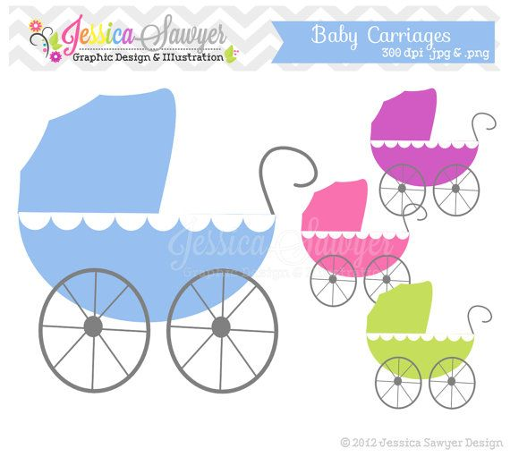 Carriage clipart invitation. Instant download baby by