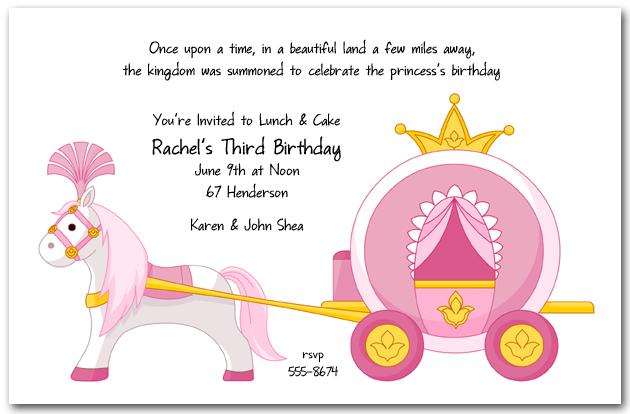 Carriage clipart invitation. Pink princess birthday
