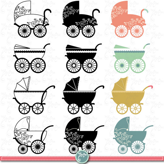 Carriage clipart invitation. Vintage baby clip art