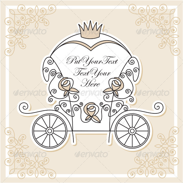Carriage clipart invitation. Vector design with wedding