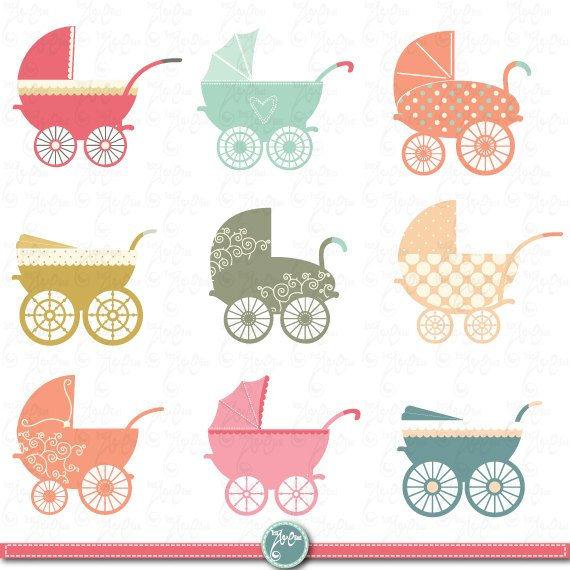 Baby stroller clip art. Carriage clipart invitation