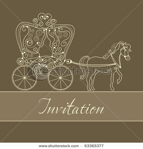 Card with picture . Carriage clipart invitation
