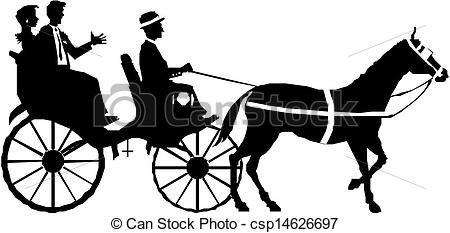 Vector couple on horse. Carriage clipart logo
