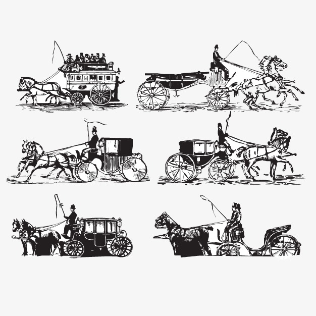 Carriage clipart medieval. Vector hand painted black