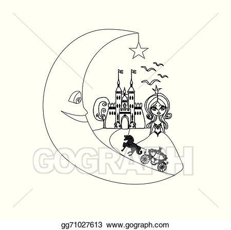 Carriage clipart medieval. Vector illustration castle princess
